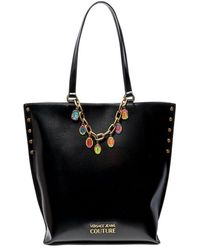 Versace Jeans Couture Tote Bag With Chain Detail - Black