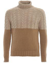 Paolo Fiorillo Capri Colour Block Wool Turtleneck - Brown