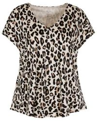 Marc Cain Collections Leopard Print Flared V-neck Top Cuban Sand Nc 48.28 J93 - Black