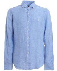 Ralph Lauren Men's 710795426003 Light Blue Linen Shirt