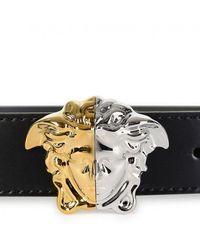 Versace Palazzo Demi Leather Thin Belt - Black