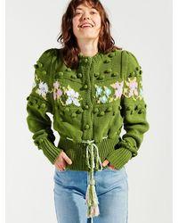 Hayley Menzies Gladys Intarsia Cotton Cardigan - Green