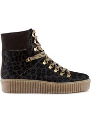 Shoe The Bear Agda Leo Suede Lace-up Boot In Leopard Stb1791 - Grey