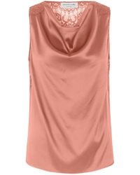 Rosemunde Silk Top With Lace Terracotta - Pink