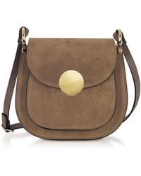 Le Parmentier Women's 083taupe Brown Suede Shoulder Bag