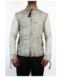 Object Distressed Leather Bomber Jack Off White Colour: Off White, Siz