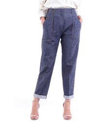 Peserico Boyfriend Style Cropped Dark Jeans - Blue