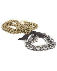 Lanvin Small Necklace With Gros Grain Heart - Metallic