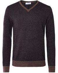 Gran Sasso Virgin Wool Herringbone V-neck Sweater Colour: Navy - Blue