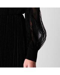 Marella Pleated Lace Dress - Black