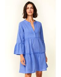 Aspiga Cristina Embroidered Organic Cotton Kaftan   Marina - Blue