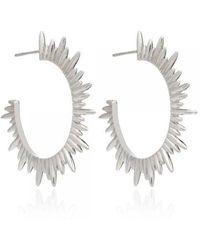 Rachel Jackson London London Sunray Hoop Earrings In Sterling Silver - Metallic