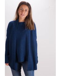 Kinross Cashmere Cashmere Waterfall Cardigan In Navy - Blue