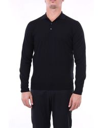 Drumohr Solid Colour Polo Shirt With Long Sleeves - Black