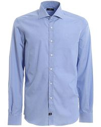 Fay Logo Patch Poplin Shirt - Blue
