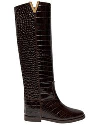 Via Roma 15 Snake Pattern Leather Knee Boots - Brown