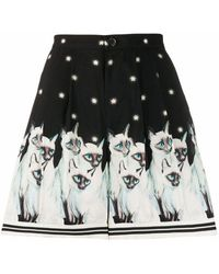 Undercover Painted Cats Shorts - Black