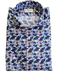 Stenströms Floral Print Slimline Shirt In Luxurious Two Fold Cotton 712361 - Blue
