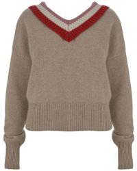 Markus Lupfer Yasmin Varsity Stripe Lambswool Sweater - Gray