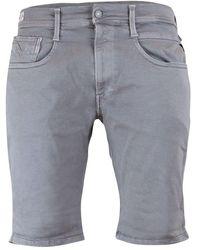 Replay Anbass Hyperflex Stretch Denim Shorts - Grey