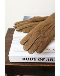 Hestra Biege Sheepskin Gloves - Brown