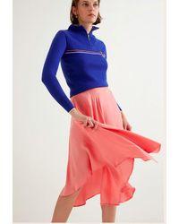 Suncoo Pink Rose Ruffled Asymmetric Midi Skirt