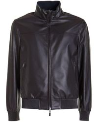 Brioni Leather Reversible Jacket - Brown
