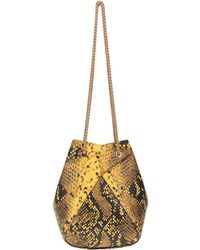 the VOLON Mani Mini Reptile Print Leather Bucket Bag - Yellow