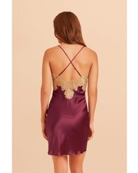 Gilda & Pearl Gina Short Silk And Lace Slip - Purple