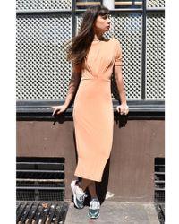 Numph Anara Shell Coral Jersey Dress - Orange