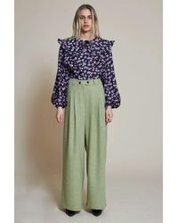 Stella Nova Eline Neon Checks Trousers - Green