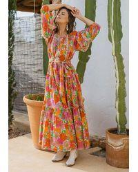 Miss June Floralies Dress Neon - Orange