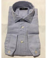 Mr. Shirt In Blue Herringbone - Grey