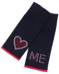 Adeela Salehjee Munich Navy Fingerless Glove In Solid Colour , Style:heart - Blue