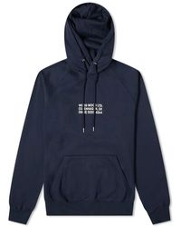 WOOD WOOD Fred Chest Logo Hoody Navy - Blue