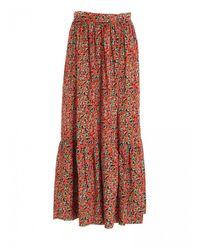 L'Autre Chose Tomato Print Long Skirt - Red