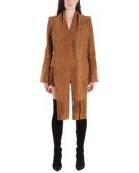 Balmain Women's Tf17556l0018ka Brown Leather Outerwear Jacket