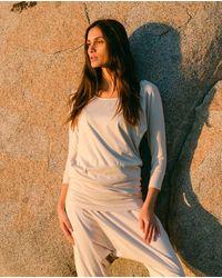 Beaumont Organic Miakoda Organic Cotton Yoga Batwing Top In Beige - Natural
