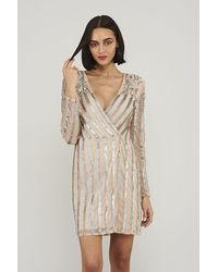 Frock and Frill Starlet Embellished Wrap Mini Dress - Multicolour