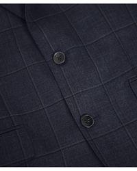 Hackett Wool Shadow Windowpane Check Suit - Blue