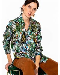 Atterley Animal Print Silk Shirt Vilagallo - Green
