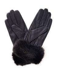 Barbour - Fur Trimmed Leather Gloves Dark Brown - Lyst