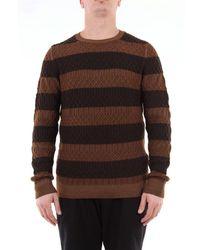 Jeordie's Striped Pure Wool Sweater - Brown