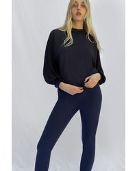 French Connection Noemi Woven Mix Mock Neck Top | - Blue