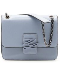 Karl Lagerfeld Women's 205w3181lightblue Light Blue Leather Shoulder Bag