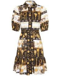 Hayley Menzies Enchanted Leopard Mini Shirt Dress In Black/white