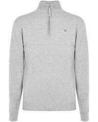 GANT Superfine Lambswool Half Zip Sweater - Gray