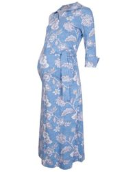 The West Village Maternity & Nursing Shirt Dress Stitch Floral - Blue