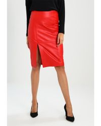 Just Female Beate Leather Skirt - Red