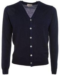 Brooksfield Men's 203co0059608 Blue Wool Cardigan